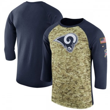 Men's Los Angeles Rams Camo Legend /Navy Salute to Service 2017 Sideline Performance Three-Quarter Sleeve T-Shirt By Nike