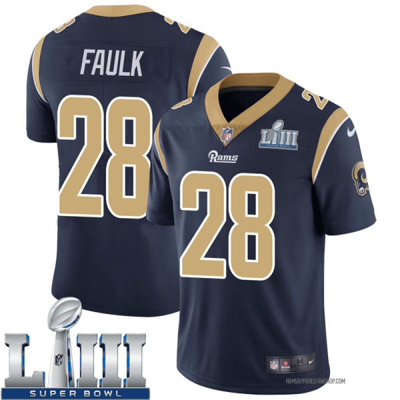 Youth Los Angeles Rams Marshall Faulk Navy Limited Team Color Super Bowl LIII Bound Vapor Untouchable Jersey By Nike